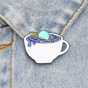 Space tea cup enamel pin